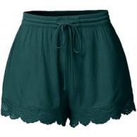 jessboyy Damen Pyjamahose kurz Spitze Seite Schlafhose Baumwolle Weiche zum Schnüren Sommer Shorts Bekleidung