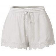 jessboyy Damen Sommer Kurze Hosen Tunnelzug Elastische Stoffhose Solide Baumwolle Strand Shorts Schlafhose Mit Spitzen Lace Bekleidung