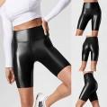Leggings Damen Kunstleder Leggings High Kurze Beine Blickdicht Shape Gym Leggings Yogahose Schnelltrocknende Highwaist Für Fitness Sport Bekleidung