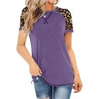 SEXOX Damen T-Shirts Kurzarm Farbblock Rundhals mit Leopard Twist Knot Frauen Shirts Tunika Tops Bluse Oberteil Basic Mode Casual Slim Fit Patchwork Baumwolle Sommer Sweatshirt Outwear Kurzarmhemd Bekleidung