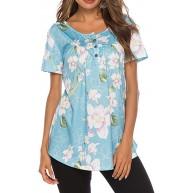 SEXOX Tunika Damen T-Shirt Kurzarm Rundhals mit Knopfleiste Blumen Bedruckte Plissee Falten Bluse Oberteil Frauen Shirts Tops Elegante Hochwertige Mode Beiläufig Streetwear Hemd Sweatshirt Sommer Bekleidung
