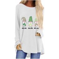 theshyer Langärmeliges T-Shirt mit Damen-Saint-Patrick-Print geeignet für Frühling und Herbst Bekleidung