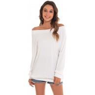 Damen Langarm Shirt Eine Schulter Einfarbig Rundhalsausschnitt Basic Top Langarm T-Shirt Lässige Tunika Tops Sommerbluse Bekleidung