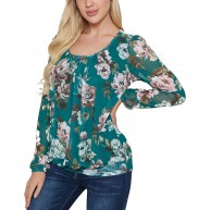 Damen Langarm Tops Floral Mesh Plissee Rundhals Shirt Stretch Casual Tops Bekleidung