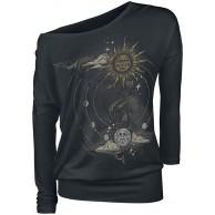 Gothicana by EMP Schwarzes Langarmshirt mit Rundhalsausschnitt und Print Frauen Langarmshirt schwarz Bekleidung