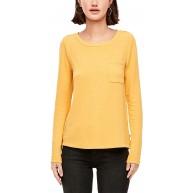 Q S designed by - s.Oliver Damen Langarmshirt mit Brusttasche honey XXL Bekleidung