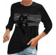 shownicer Damen Casual Schwarz Katze Langarm Shirts 3D Druck Katzen-Muster Gestreifte Fensterläden Grafik Tops Rundhals Bluse Sweatshirt Bekleidung