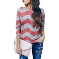 VONDA Damen Oberteile Langarm Wellenstreifen Winter Oversize Shirt Rundhals Elegant Top Herbst Longshirt Bekleidung