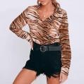 SHOBDW Lässige Blusen Button Down Shirts für Frauen Tiger Muster T-Shirt Frauen Sexy V-Ausschnitt Blouse mit Taschen Shirt Damen Tigermuster Bekleidung