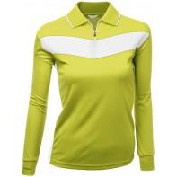 Xpril Damen-Poloshirt zweifarbiges Muster Coolmax-Stoff langärmelig - Gelb - US XX-Large Bekleidung