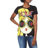 Love Moschino Damen Short Sleeve Logo and Dolly Print T-Shirt Bekleidung