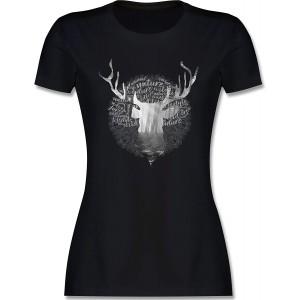 Shirtracer - Oktoberfest & Wiesn Damen - Hirsch Grau - Tailliertes Tshirt für Damen und Frauen T-Shirt Shirtracer Bekleidung