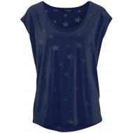 TrendiMax Damen T-Shirt Kurzarm Locker Bluse Lässiges Sommer Shirt mit Allover-Sternen Druck Bekleidung
