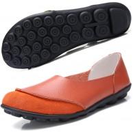 Hishoes Damen Mokassin Bootsschuhe Leder Loafers Fahren Flache Schuhe Halbschuhe Slippers Erbsenschuhe Orange 39 EU Schuhe & Handtaschen