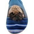 ALBEROLA Hausschuh Pantoffel HELLE Sohle MOPS KUSCHELT MIT Blauer Decke A14040AS - EU 36-42 Schuhe & Handtaschen