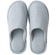 Hausschuhe waschbar Hausschuhe Zimmer Schuhe Baumwolle Material Anti-Rutsch-atmungsaktives Interieur für die Gäste nach Hause Streifen Herren Damen Color Blue Size M Schuhe & Handtaschen