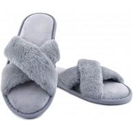 LARGERED Plüsch Hausschuhe Damen Flauschige Schlappen Offene Zehe Badelatschen Fluffy Slipper Wärme Bequeme Grau Weiß Schuhe & Handtaschen