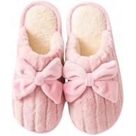 ORANDESIGNE Damen Herren Winter Flaumig Hausschuhe Warm Niedlicher Bowknot Plüsch Pantoffeln Kuschelige rutschfeste Slippers Schuhe & Handtaschen