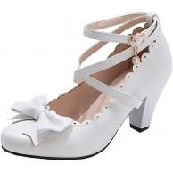 Etebella Damen Mary Jane High Heels Lolita Pumps mit Riemchen und Blockabsatz Rockabilly Cosplay Schuhe Schuhe & Handtaschen