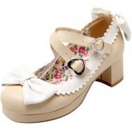 OUWANG Damen süß Schleifen Chunky Heels runde Pumps Schuhe & Handtaschen