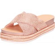Cambridge Select Damen Crisscross Glitzer Kristall Strass Espadrille Slip On Flatform Slide Sandale Gold rose gold 37 EU Schuhe & Handtaschen