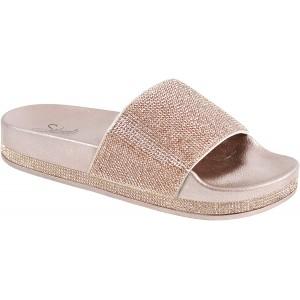 CLOVERLAY Damen Strass Glitzer Kristall Slide Fußbett Plateau Sandalen Pantoffeln Schuhe & Handtaschen