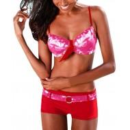 OverDose Damen Damen Bandeau Gepolsterter Bikini-Set Trägerlos Patchwork 2 Stück Badeanzug Push-Up Badeset Strandbadebekleidung Bekleidung