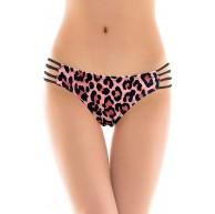 SHEKINI Damen Tanga Bikinihose String Leopard Brazilian Bikini Slip Schnüren Cut Out Höschen Bekleidung