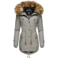 Marikoo Damen Wintermantel Winterparka mit abnehmbarem Kunstfell La Viva Prc XS-XXL Bekleidung